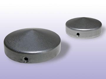 stahl pfostenkappe pfostenabschluss rund flach f r rohr 100 mm durchmesser ebay. Black Bedroom Furniture Sets. Home Design Ideas